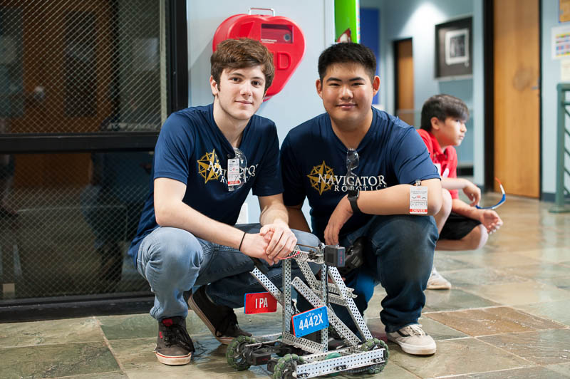 David Pavlicek ('20) and Brian Lu ('19) – Team 4442X – with their robot.