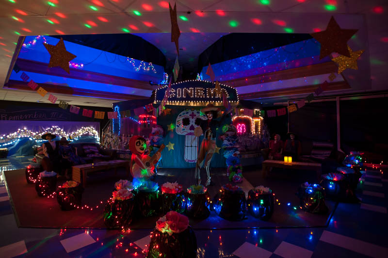 Scene from Coco recreated with lights and props.