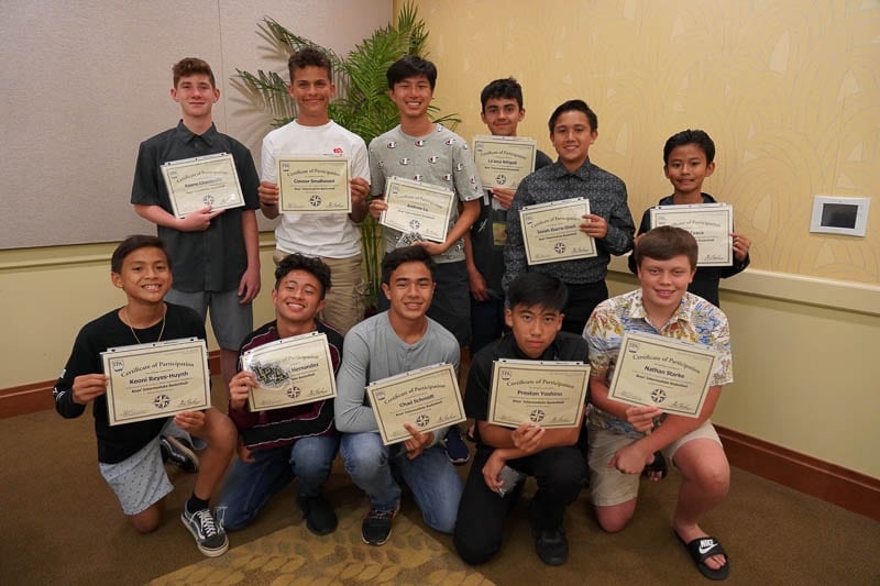 Boysʻ basketball team with certificates