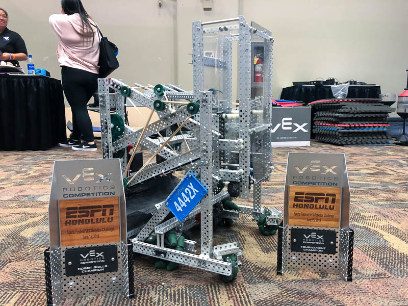 Navigator Robotics robots with tournament awards