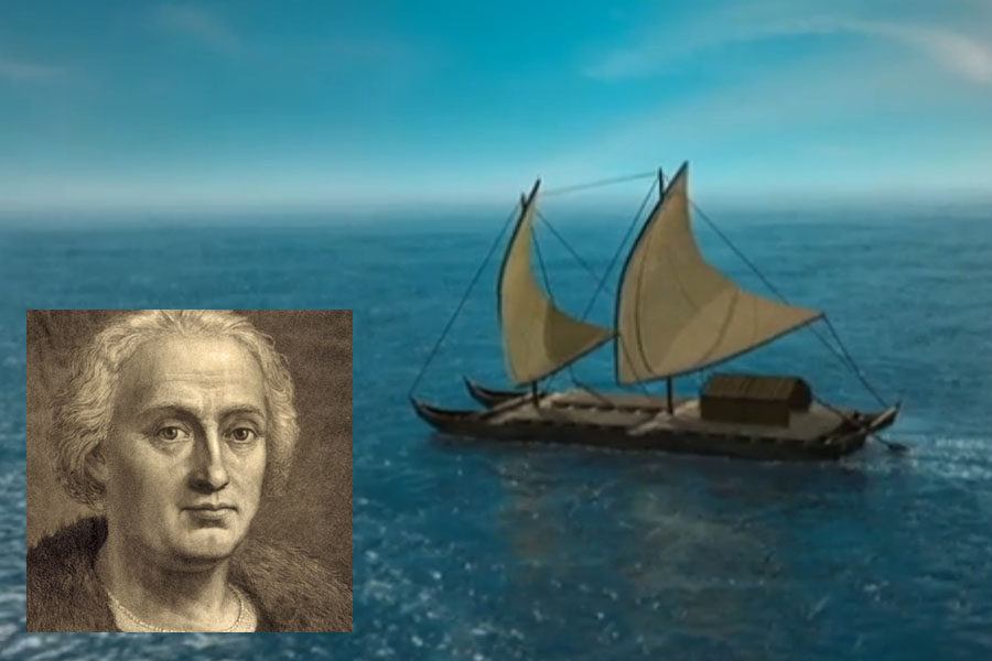 Polynesian canoe and Christopher Columbus