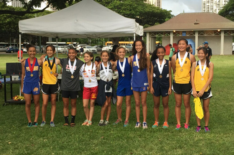 Breana Higa-Alexander ('21) (third from right) finished in 8th place to earn a Bronze medal.