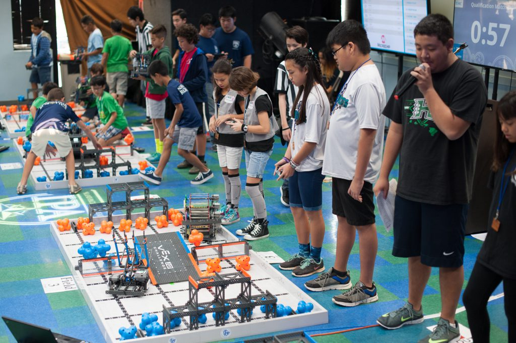 Robotics teams compete.