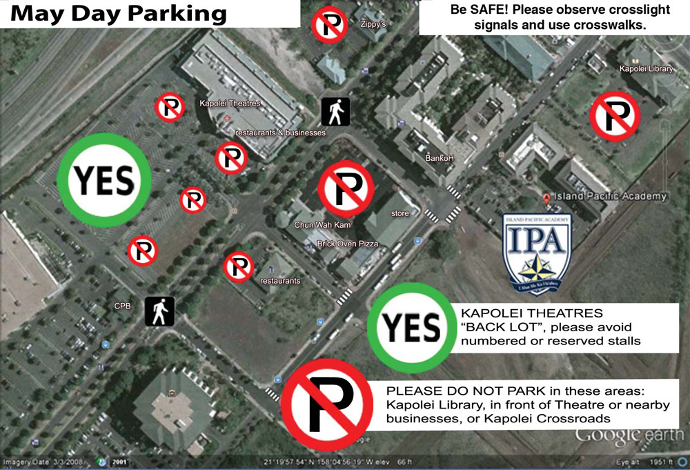 Map of parking locations.