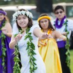 Mōʻī Wahine, Megan Bobilin ('17), and members of the May Day court perform a hula to Lei Hala.