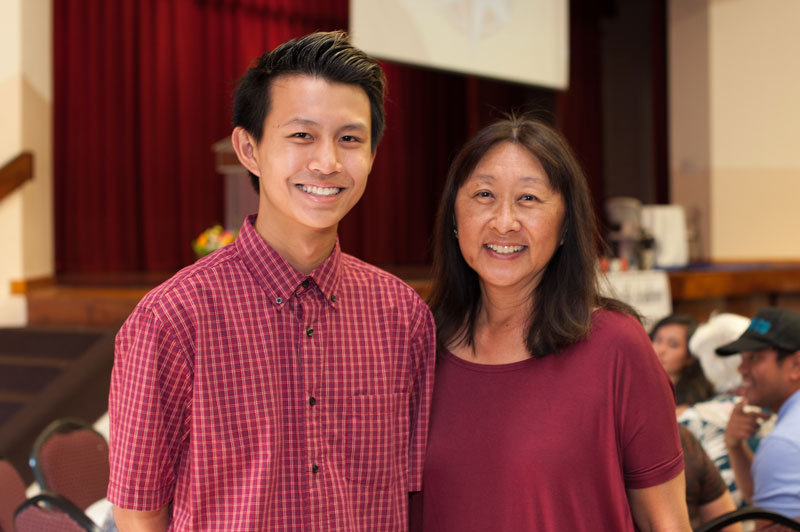 Ethan Suga ('18) and his mom.