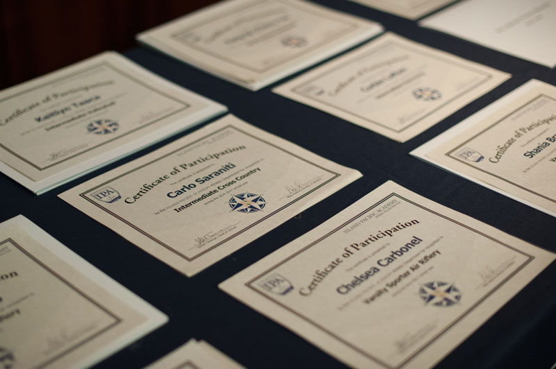 Athlete Certificates of Participation.