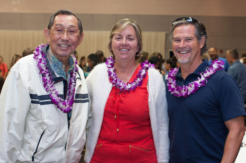 Former ISLAND PACIFIC ACADEMY Athletic Directors, Ron Tsuchiya and Colleen Carrington, and Rich Becker, IPA coach.