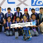 The 2016-2017 ISLAND PACIFIC ACADEMY Navigator Robotics Team at the 2017 VEX IQ World Championship in Louisville, KY. Back row: Colton Okimoto ('18), Taylor Horita ('22), Zaheer Gulko ('22), Emma-Rose Layaoen ('22), Ryan Corpuz ('22), Coach Robyn Cabuslay ('14). Front row: Sebastian Banquil ('23), Aaron Sasaki ('23), Nathan Okimoto ('22), and Joshua Kuakini ('22).