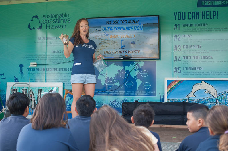 Adrianna from Sustainable Coastlines Hawaiʻi talks to the Grade 4 students about the detrimentAdrianna from Sustainable Coastlines Hawaiʻi educates the Grade 4 students about the persistence of plastic pollution in our ocean environment and the negative effects on the marine life.al effects of single-use plastics on our marine environment.