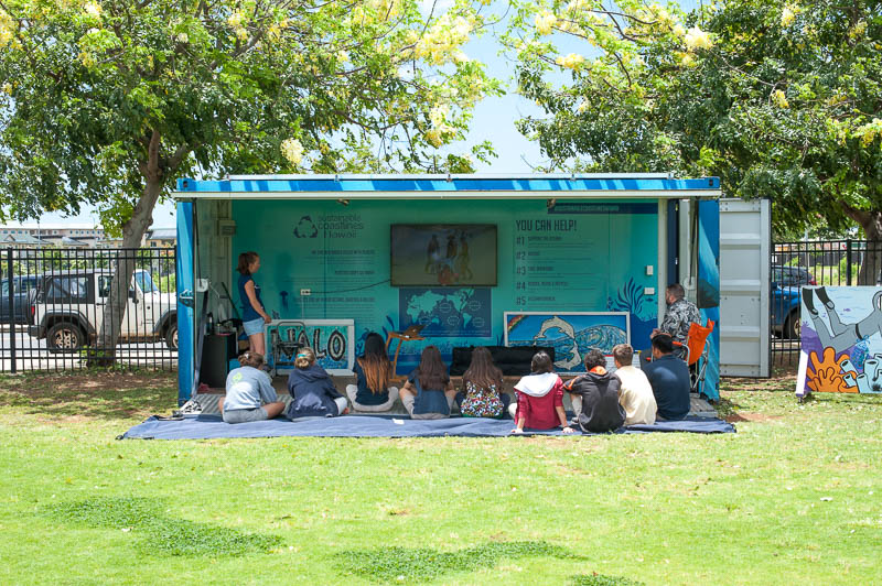 "The mobile ""Education Station"" from Sustainable Coastlines Hawaiʻi will be set up on the Big Field for two weeks."