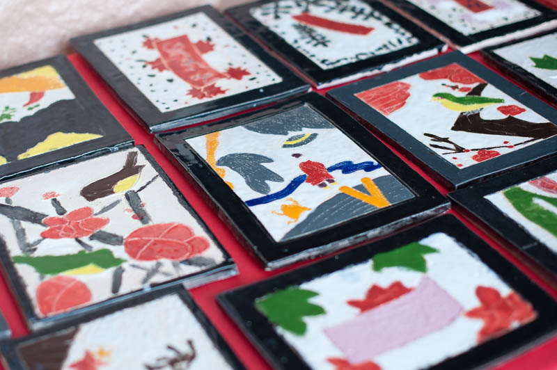 Ceramic hanafuda cards.