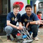 David Pavlicek ('20) and Brian Lu ('19) – Team 4442X – with their robot