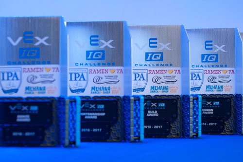 VEX IQ trophies lined in a row