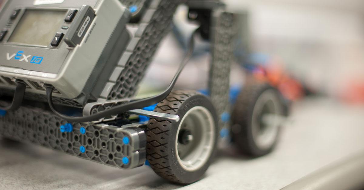 Close up of a VEX robotics robot wheels