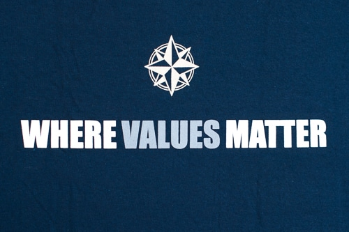 "T-shirt with ""where values matter"""