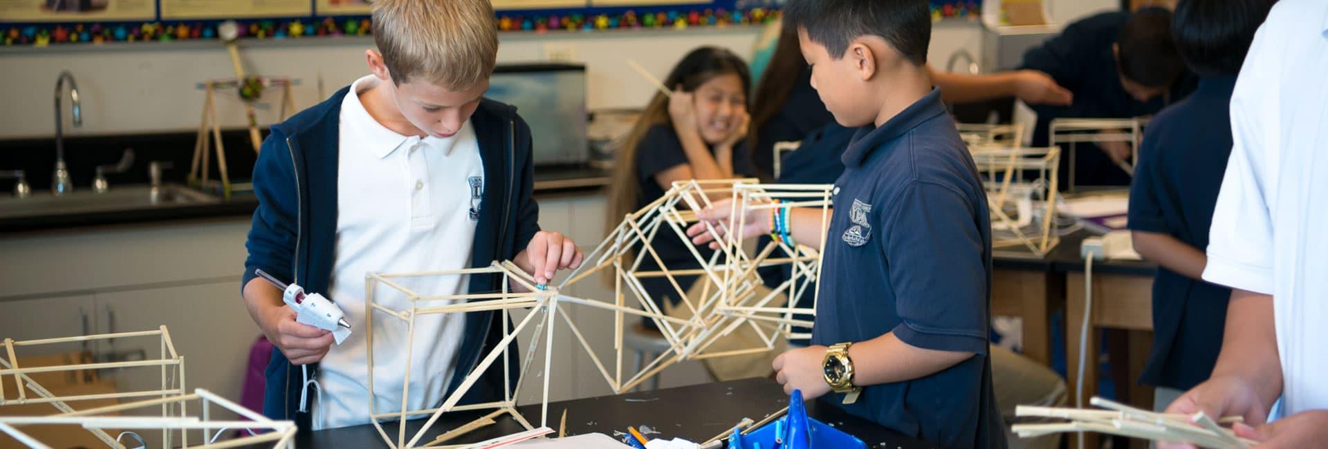 Grade 5 students building models in engineering