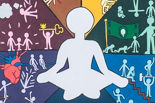 Colorful student artwork of figure in meditation