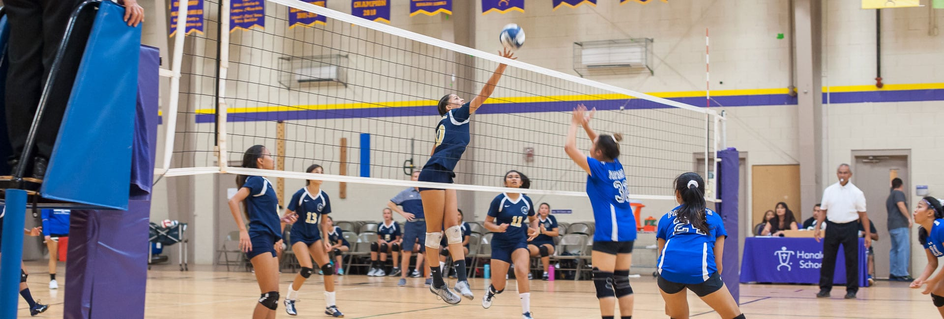 Girls volleyball player tipping ball over the net