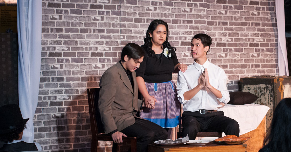 Student actors in scene from The 39 Steps