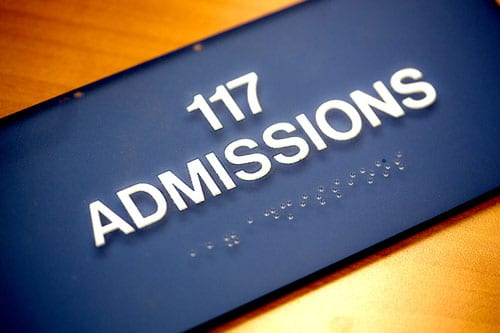 Close up of Admission office sign