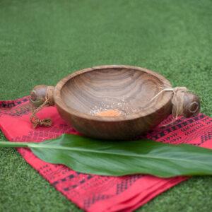 Hawaiian koa bowl with ti leaf
