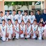 Team photo of boys' intermediate basketball