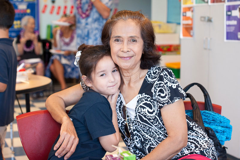 Grandparent and grandchild in classroom