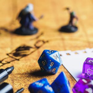 Dungeons and Dragons dice on table