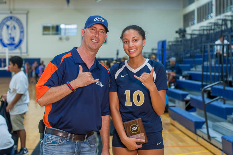 Volleyball player with reporter