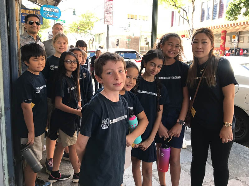 Grade 5 students on a walking tour of Chinatown