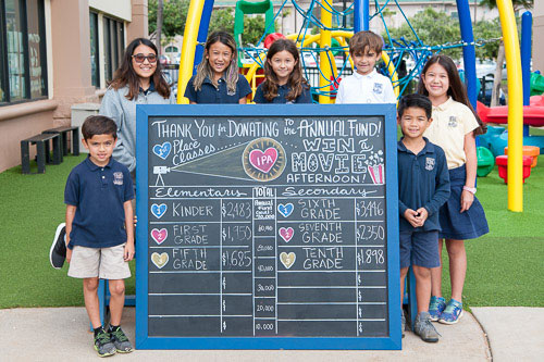 Group of school children around chalkboard showing progress of fundraiser
