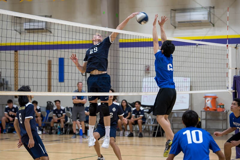 High school boys' varsity volleyball game