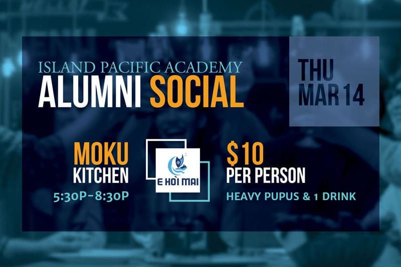 Graphic showing information for Alumni Social event