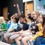 New middle school students ask questions at orientation