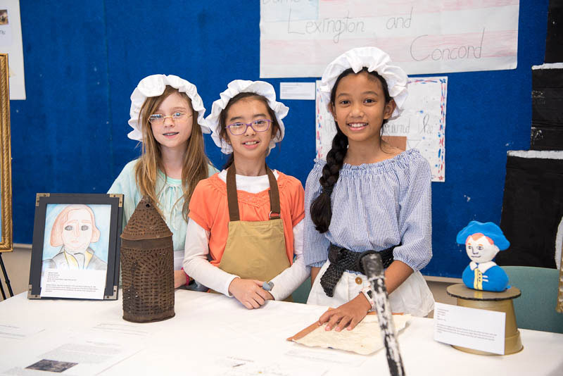 Students dressed in costumes from American Revolution