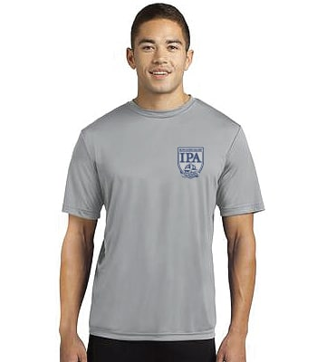 Man modeling front of PE shirt