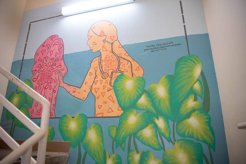 Mural on the wall of hospital stairwell