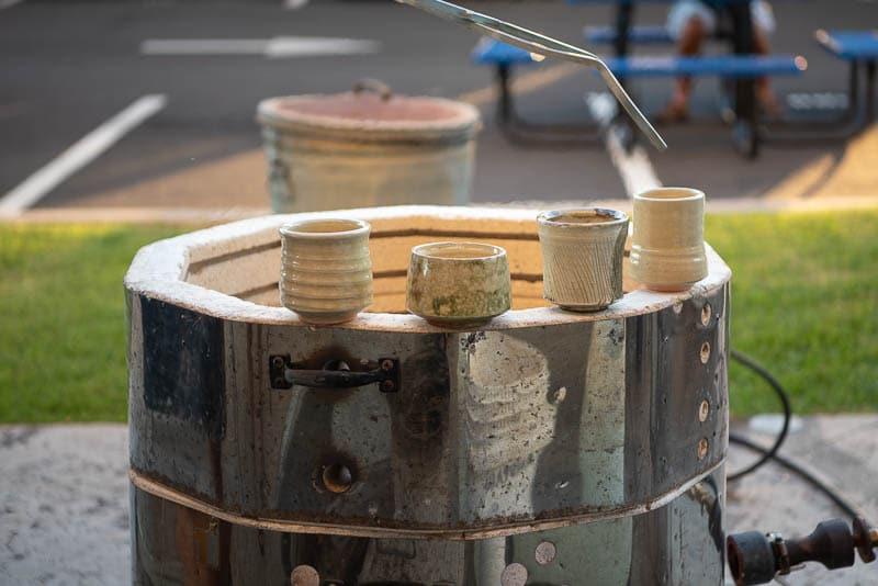 Raku fired pots on the kiln