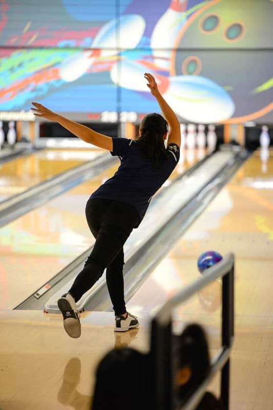 Girls varsity bowler bowling