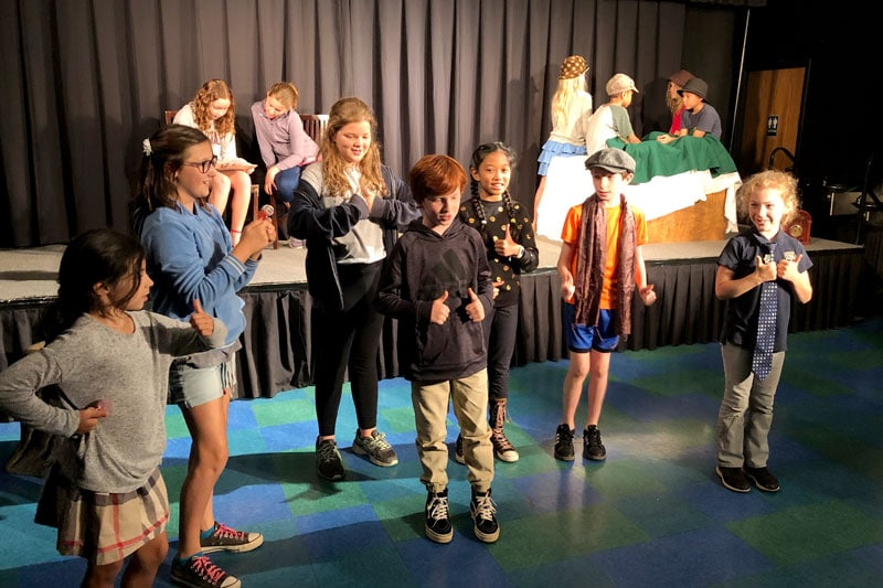 Elementary students in creative drama class