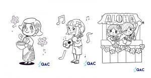 Coloring pages created by the QAC