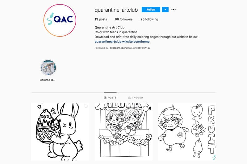 Screen shot of the Quarantine Art Club Instagram page.