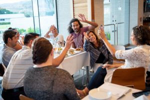 Alumni meeting at restaurant