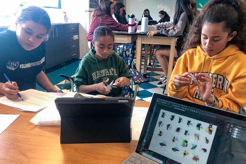 Grade 6 students making pins.