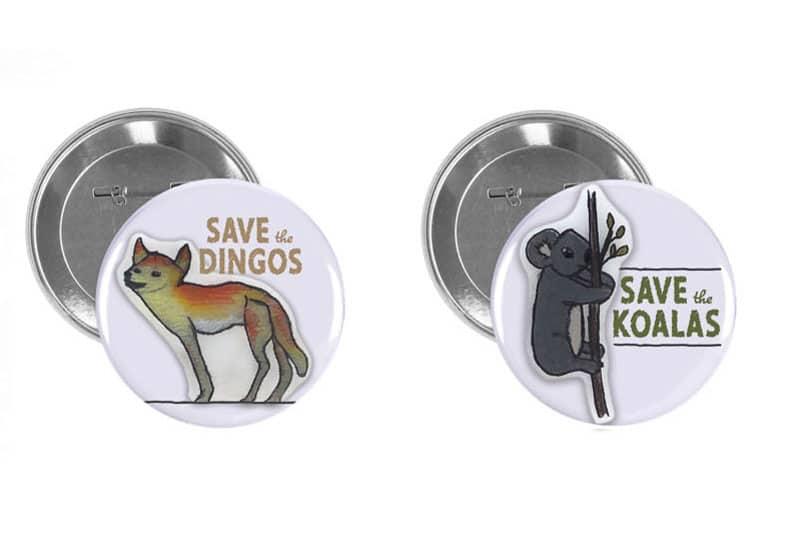 Australian wildlife buttons