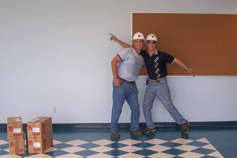Stan Vincent and James Nellligan during building construction