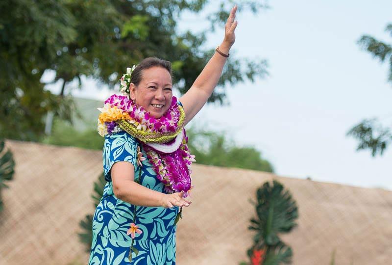 Momi Kuahiwinui dances a solo hula at the 2017 IPA May Day celebration.