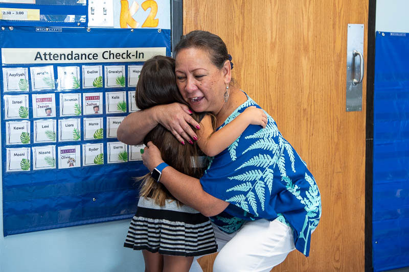 Ms. Momi gives a warm welcome to a new kindergartener at the Elementary Meet and Greet.