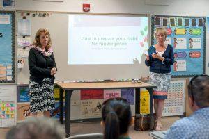 Eileen Novak talks to Kindergarten parents at the Ready for Kindergarten orientation in 2018.